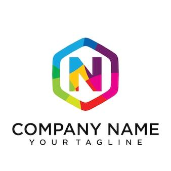 N brief logo pictogram zeshoek ontwerpsjabloon element
