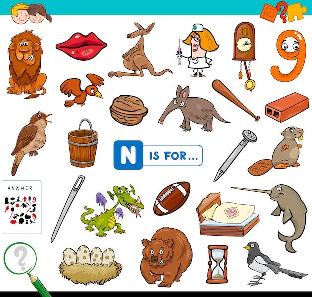 N is voor educatief spel voor kinderen