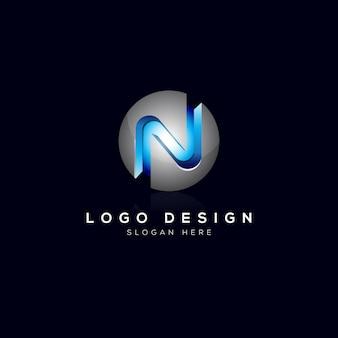N letter 3d logo sjabloon