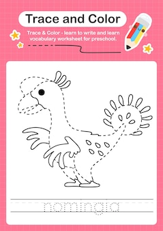 N overtrekwoord voor dinosaurussen en kleurwerkblad met het woord nomingia