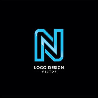 N symbool typografie logo ontwerp