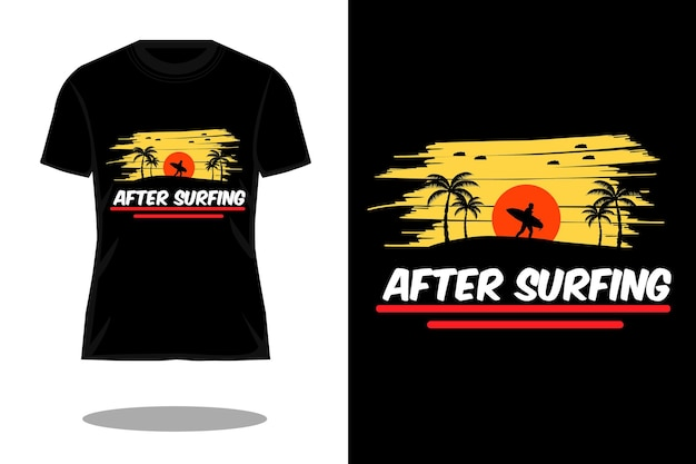 Na het surfen silhouet vintage t-shirtontwerp