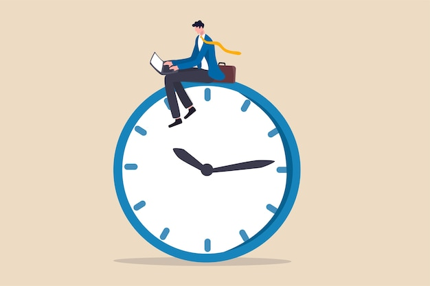 Na werktijd werknemer, laat overwerk maken of carrière die in een ander tijdconcept werkt, zelfverzekerde zakenman met behulp van computerlaptop zittend op de klok die 's nachts werkt met een collega in een ander land. Premium Vector