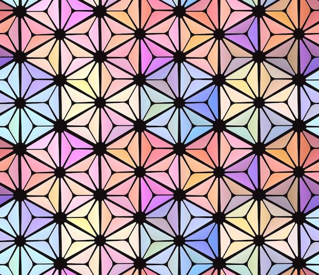 Naadloos abstract gebrandschilderd glasvenster met veelkleurige glazen. vector textuur