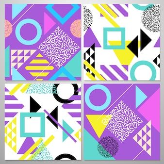 Naadloos abstract geometrisch patroon in retro stijl van memphis