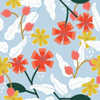 Naadloos abstract hand getrokken bloemenpatroon