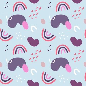 Naadloos abstract patroon met regenbogen, vlekken en krommen.