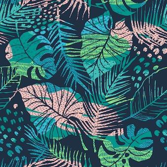 Naadloos abstract patroon met tropische planten