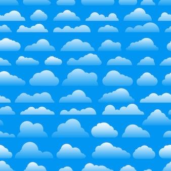 Naadloos abstract patroon met wolken. cartoon wolk vector achtergrond