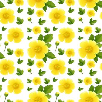 Naadloos achtergrondontwerp met gele bloemen