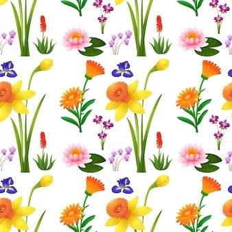 Naadloos achtergrondontwerp met wilde bloemen