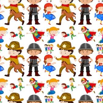 Naadloos achtergrondontwerp voor kinderen in verschillende kostuums