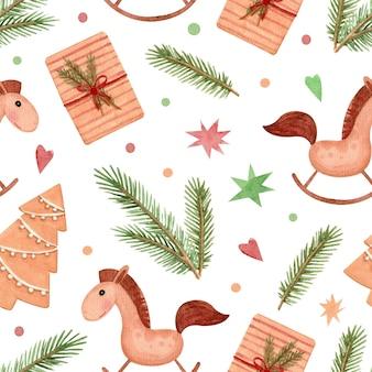 Naadloos aquarelpatroon met kerstcadeaus, paarden en dennentakken