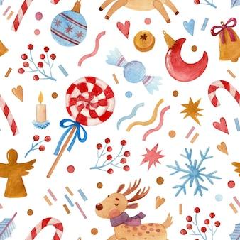 Naadloos aquarelpatroon met kerstsnoepjes, speelgoed en sterren