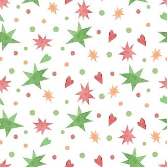 Naadloos aquarelpatroon met kerststerren en confetti