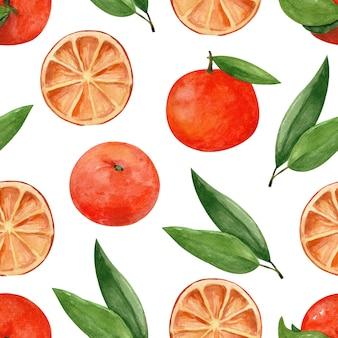 Naadloos aquarelpatroon met mandarijnen en bladeren