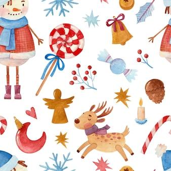 Naadloos aquarelpatroon met sneeuwpop en kerstattributen