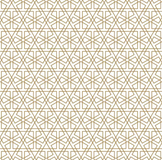 Naadloos arabisch geometrisch ornament in bruine kleur. gemiddelde dikte lijnen.