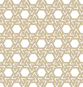Naadloos arabisch geometrisch ornament in bruine kleur. gemiddelde dubbele lijnen.