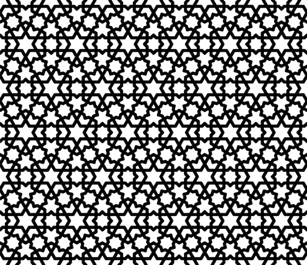 Naadloos arabisch geometrisch ornament in zwart-wit.