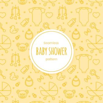 Naadloos baby shower lineair patroon