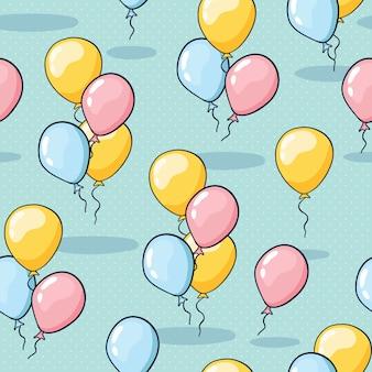 Naadloos ballonpatroon voor verjaardagswenskaarten