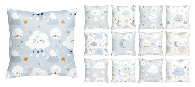 Naadloos bedtijdpatroon met lachende sterren en slaapwolken voor de kinderkamer van de babyjongen