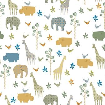 Naadloos bewerkbaar patroon met mooie dieren