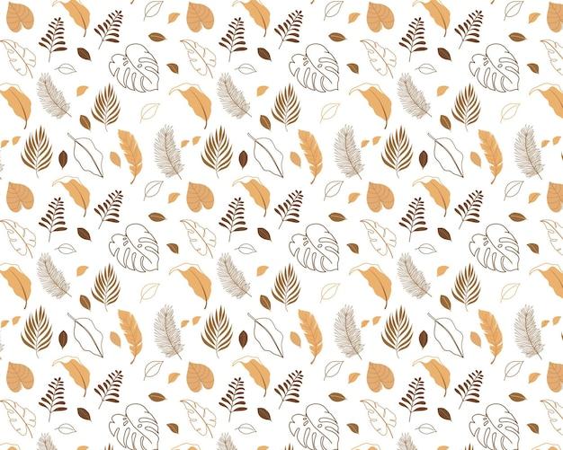 Naadloos blad bruin patroon