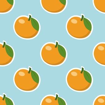Naadloos blauw patroon met mandarijnen. eindeloos behang voor inpakpapier. achtergrond voor het naaien van kleding, textiel, bedrukking op stof.