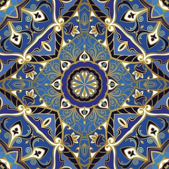 Naadloos blauw patroon.
