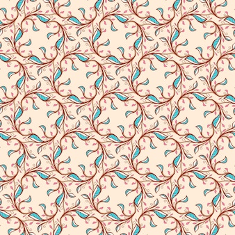 Naadloos bloemen abstract patroon met roze en blauwe bladeren en wervelingen op een beige achtergrond