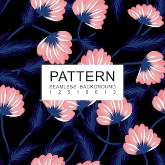 Naadloos bloemenpatroon blauw en roze