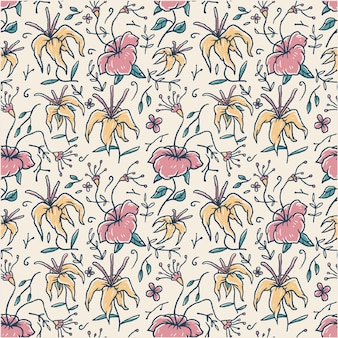 Naadloos bloemenpatroon, hand getrokken lijn met digitale kleur, illustratie