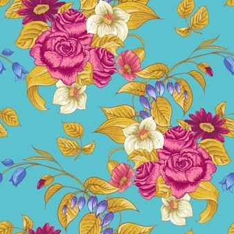 Naadloos bloemenpatroon met rozen en wilde bloemen