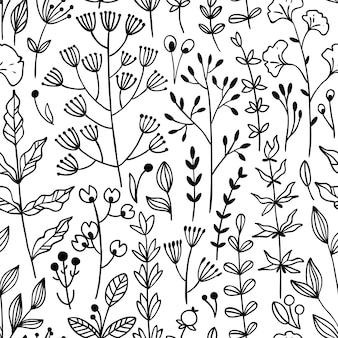 Naadloos bloemenpatroon met takjes