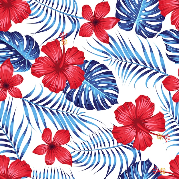 Naadloos bloemenpatroon met tropische bladeren