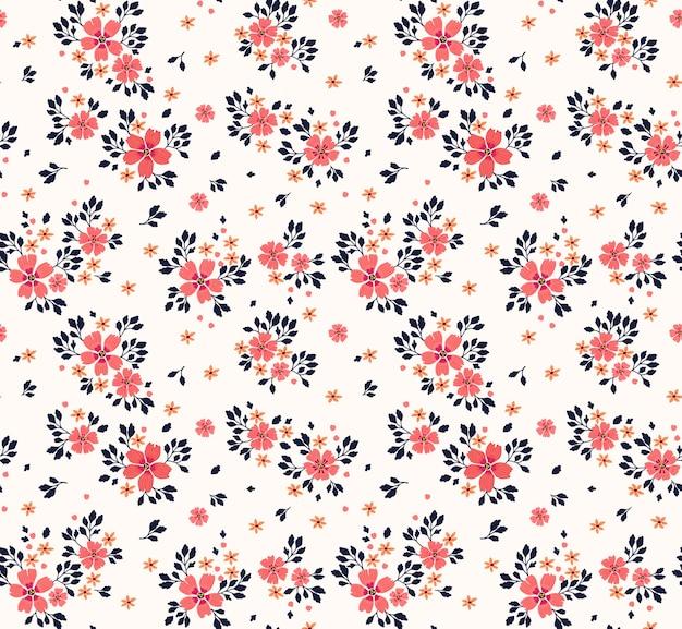 Naadloos bloemenpatroon voor. kleine roze bloemen. witte achtergrond. sjabloon voor modedruk