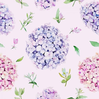 Naadloos bloemenpatroon. water kleurstijl, hydrangea bloem.