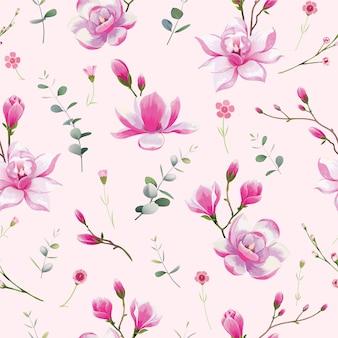 Naadloos bloemenpatroon. waterkleurstijl, magnoliabloem.