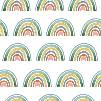 Naadloos boho-regenboogpatroon met minimalistische scandinavische elementen