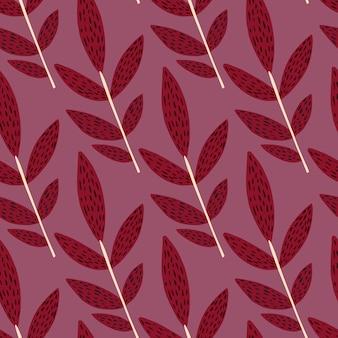 Naadloos botanisch patroon met creatief ontwerp. rode twijgen met zwarte streepjes en lichtpaarse achtergrond.