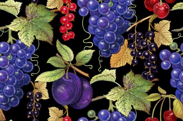 Naadloos botanisch patroon met druiven, pruim, aalbes en kers op zwarte achtergrond