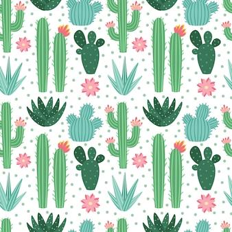 Naadloos cactuspatroon. exotische kamerplanten van woestijncactussen, herhalende cactussenachtergrond