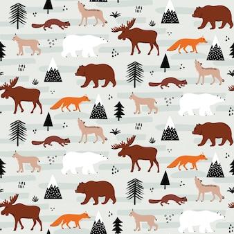 Naadloos canadees dierenpatroon