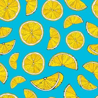 Naadloos citroenpatroon op blauwe achtergrond