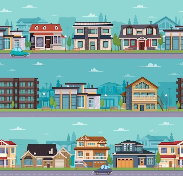 Naadloos cityscape malplaatje met huizen en plattelandshuisjes in de voorsteden