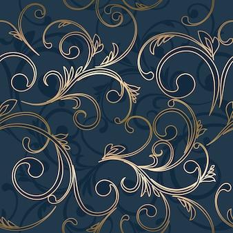 Naadloos damastbehang. abstract bloemenpatroon.