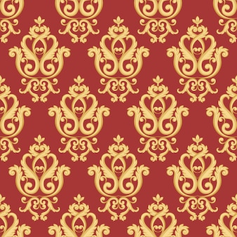 Naadloos damastpatroon. gouden en rode textuur in vintage rijke koninklijke stijl. vector illustratie.