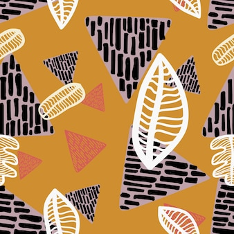 Naadloos de herfstpatroon met driehoeks geometrische tekening